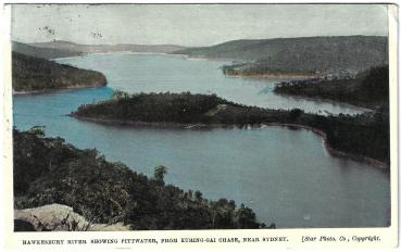 Postcard Australia used 1919 - Hawkesbury Rriver showing Pittwater
