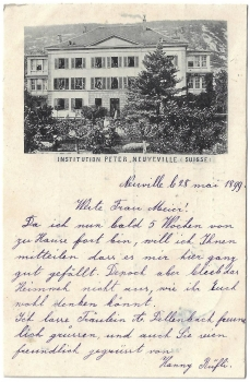 Postcard CH BE used 1899 - Neuveville Institution Peter