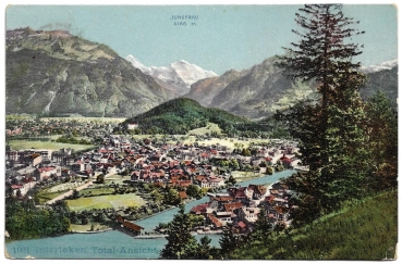 Postcard CH BE used 1908 - Interlaken Total-Ansicht