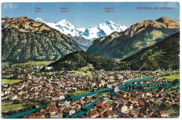 Postcard CH BE unused 19xx - Interlaken und Unterseen