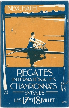 Postcard CH NE unused 1909 - Neuchatel Regates Internationales Championnats Suisses