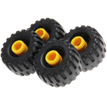LEGO Duplo - Toolo Wheel with Yellow Connector Pin with Black Duplo, Toolo Tire Standard 6290c01