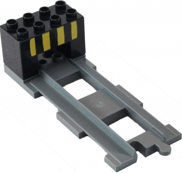 LEGO Duplo - Train Track End with End Brick 31442 / 6394pb01 (dark gray)