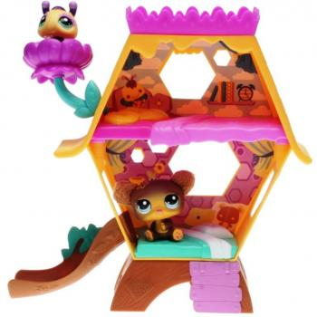 Littlest Pet Shop - Cutest Pets 38967 - Honey Hideaway Playset - Bee 2467, Bear 2468