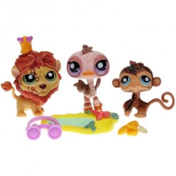 Littlest Pet Shop - Postcard Pets - 97787 3-Pack - 0944 Lion, 0945 Ostrich, 0946 Monke