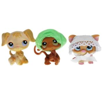 Littlest Pet Shop - Tubes 2007 Spring - 0266 Pig, 0267 Monkey, 0268 Retriever
