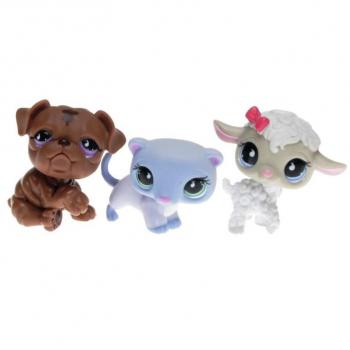 Littlest Pet Shop - Tubes 2009 Spring - 0879 Lamb, 0880 Ferret, 0881 Bulldog