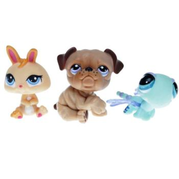 Littlest Pet Shop - Tubes 2010 93667 - 1342 Bulldog, 1343 Dragonfly, 1344 Rabbit