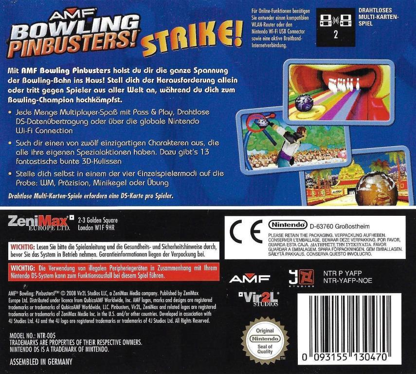 Nintendo Ds Amf Bowling Pinbusters Decotoys