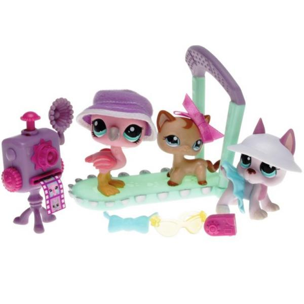 Littlest Pet Shop - Stylin Pets Runway 92618 -  Great Dane 1022, Flamingo 1023, Cat Shorthair 1024