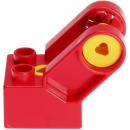 LEGO Duplo - Toolo Brick 2 x 2 with Angled Bracket with Forks and 2 Screws Red 6284c01